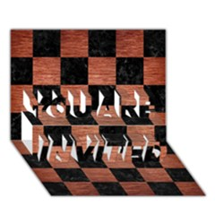 Square1 Black Marble & Copper Brushed Metal You Are Invited 3d Greeting Card (7x5)
