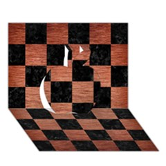 Square1 Black Marble & Copper Brushed Metal Apple 3d Greeting Card (7x5)