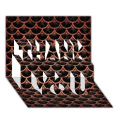 Scales3 Black Marble & Copper Brushed Metal Thank You 3d Greeting Card (7x5) by trendistuff