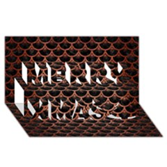 Scales3 Black Marble & Copper Brushed Metal Merry Xmas 3d Greeting Card (8x4) by trendistuff