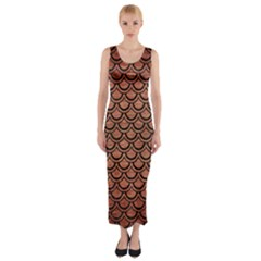 Scales2 Black Marble & Copper Brushed Metal (r) Fitted Maxi Dress