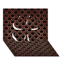 Scales2 Black Marble & Copper Brushed Metal Clover 3d Greeting Card (7x5)