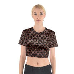 Scales2 Black Marble & Copper Brushed Metal Cotton Crop Top