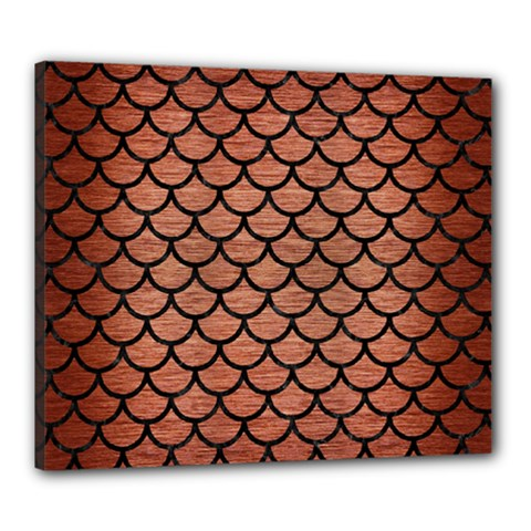 Scales1 Black Marble & Copper Brushed Metal (r) Canvas 24  X 20  (stretched) by trendistuff