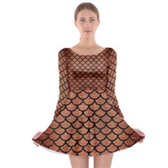 Scales1 Black Marble & Copper Brushed Metal (r) Long Sleeve Skater Dress by trendistuff