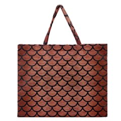 SCA1 BK MARBLE COPPER (R) Zipper Large Tote Bag by trendistuff