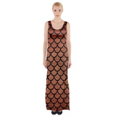 Scales1 Black Marble & Copper Brushed Metal (r) Maxi Thigh Split Dress by trendistuff
