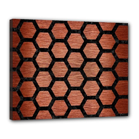 Hexagon2 Black Marble & Copper Brushed Metal (r) Canvas 20  X 16  (stretched) by trendistuff