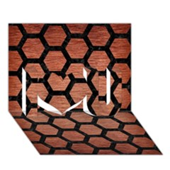 Hexagon2 Black Marble & Copper Brushed Metal (r) I Love You 3d Greeting Card (7x5) by trendistuff