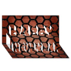 Hexagon2 Black Marble & Copper Brushed Metal (r) Happy New Year 3d Greeting Card (8x4) by trendistuff