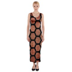 Hexagon2 Black Marble & Copper Brushed Metal (r) Fitted Maxi Dress