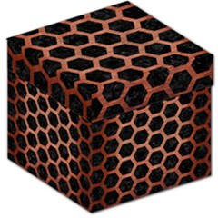 Hexagon2 Black Marble & Copper Brushed Metal Storage Stool 12  by trendistuff