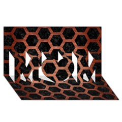 Hexagon2 Black Marble & Copper Brushed Metal Mom 3d Greeting Card (8x4)