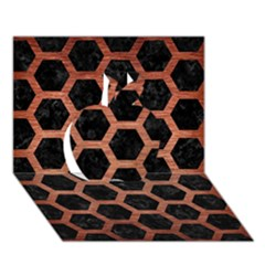Hexagon2 Black Marble & Copper Brushed Metal Apple 3d Greeting Card (7x5)
