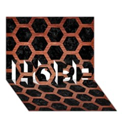 Hexagon2 Black Marble & Copper Brushed Metal Hope 3d Greeting Card (7x5)