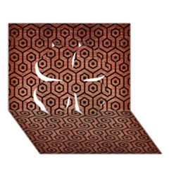 Hexagon1 Black Marble & Copper Brushed Metal (r) Clover 3d Greeting Card (7x5) by trendistuff