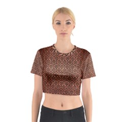 Hexagon1 Black Marble & Copper Brushed Metal (r) Cotton Crop Top