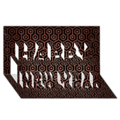 Hexagon1 Black Marble & Copper Brushed Metal Happy New Year 3d Greeting Card (8x4)