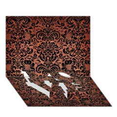 Damask2 Black Marble & Copper Brushed Metal (r) Love Bottom 3d Greeting Card (7x5)