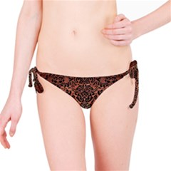 Damask2 Black Marble & Copper Brushed Metal (r) Bikini Bottom by trendistuff