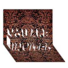 Damask2 Black Marble & Copper Brushed Metal You Are Invited 3d Greeting Card (7x5) by trendistuff