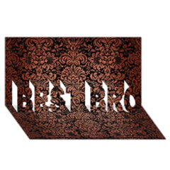 Damask2 Black Marble & Copper Brushed Metal Best Bro 3d Greeting Card (8x4)