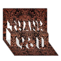 Damask2 Black Marble & Copper Brushed Metal Thank You 3d Greeting Card (7x5)