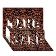 Damask2 Black Marble & Copper Brushed Metal Take Care 3d Greeting Card (7x5)