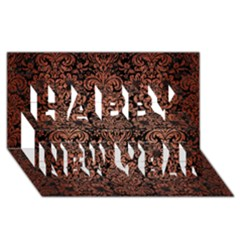 Damask2 Black Marble & Copper Brushed Metal Happy New Year 3d Greeting Card (8x4) by trendistuff