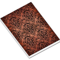 Damask1 Black Marble & Copper Brushed Metal (r) Large Memo Pads