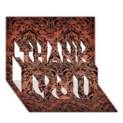 Damask1 Black Marble & Copper Brushed Metal (r) Thank You 3d Greeting Card (7x5)