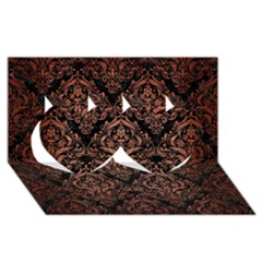 Damask1 Black Marble & Copper Brushed Metal Twin Hearts 3d Greeting Card (8x4) by trendistuff