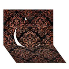 Damask1 Black Marble & Copper Brushed Metal Circle 3d Greeting Card (7x5) by trendistuff