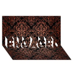 Damask1 Black Marble & Copper Brushed Metal Engaged 3d Greeting Card (8x4)