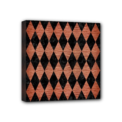 Diamond1 Black Marble & Copper Brushed Metal Mini Canvas 4  X 4  (stretched) by trendistuff