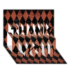 Diamond1 Black Marble & Copper Brushed Metal Thank You 3d Greeting Card (7x5) by trendistuff