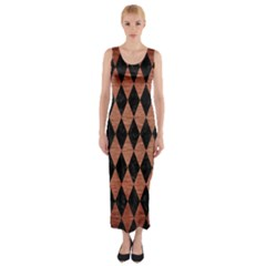Diamond1 Black Marble & Copper Brushed Metal Fitted Maxi Dress