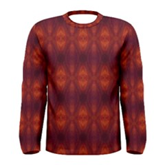 Brown Diamonds Pattern Men s Long Sleeve Tee