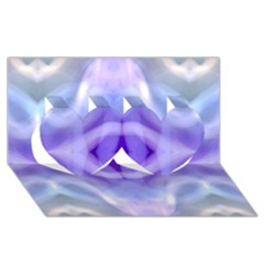 Beautiful Blue Purple Pastel Pattern, Twin Hearts 3D Greeting Card (8x4)  by Costasonlineshop