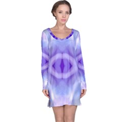 Beautiful Blue Purple Pastel Pattern, Long Sleeve Nightdress by Costasonlineshop