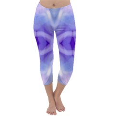 Beautiful Blue Purple Pastel Pattern, Capri Winter Leggings