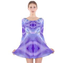 Beautiful Blue Purple Pastel Pattern, Long Sleeve Velvet Skater Dress