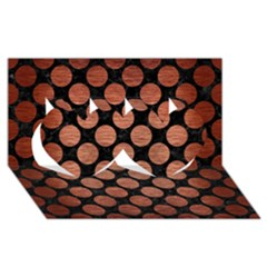 Circles2 Black Marble & Copper Brushed Metal Twin Hearts 3d Greeting Card (8x4)