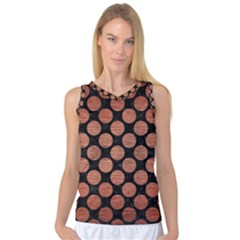 Circles2 Black Marble & Copper Brushed Metal Women s Basketball Tank Top