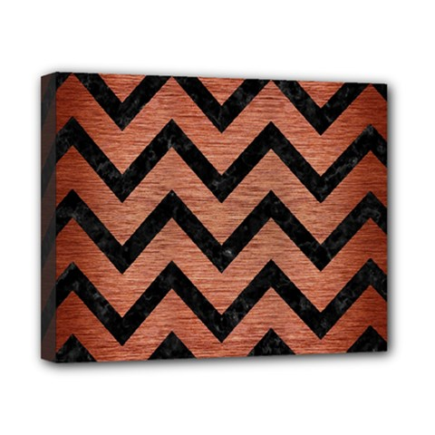 Chevron9 Black Marble & Copper Brushed Metal (r) Canvas 10  X 8  (stretched) by trendistuff