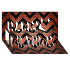 Chevron9 Black Marble & Copper Brushed Metal (r) Happy Birthday 3d Greeting Card (8x4)