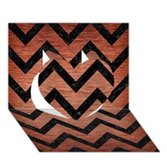 Chevron9 Black Marble & Copper Brushed Metal (r) Heart 3d Greeting Card (7x5)