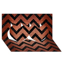 Chevron9 Black Marble & Copper Brushed Metal (r) Twin Hearts 3d Greeting Card (8x4)