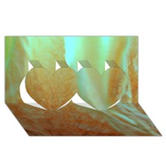 Floating Teal And Orange Peach Twin Hearts 3d Greeting Card (8x4)  by timelessartoncanvas