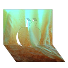 Floating Teal And Orange Peach Apple 3d Greeting Card (7x5)  by timelessartoncanvas